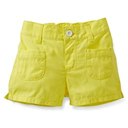 Carter\'s Girls Flat Front Woven Shorts (4 Toddler, Bright Yellow)