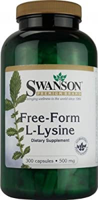Swanson Free-form L-lysine (500mg, 300 Capsules)
