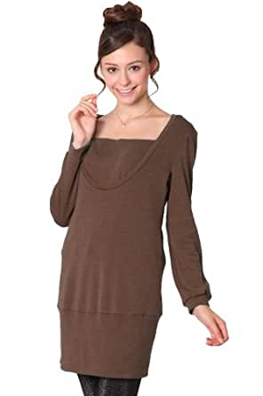 Sweet Mommy Maternity and Nursing Tunic Dress with 2 inner layers Mocha L(12-14)