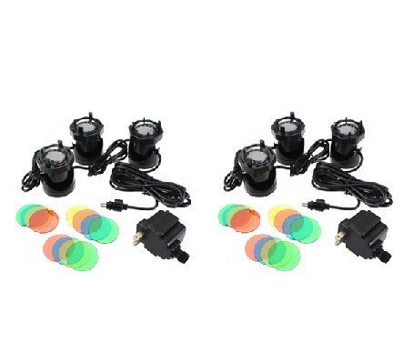 Water & Wood 2X 3 Set 12 LED 110V Submersible Underwater Outdoor Garden Pool Light Fountain Pond Lamp + 4 Color Lens Kit