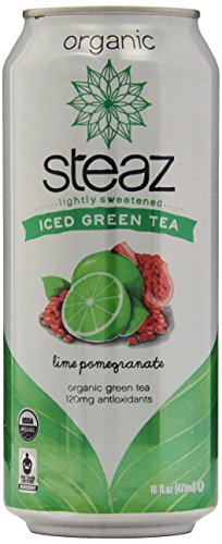 Steaz Iced Tea Can, Lime Green Pomegranate, Gluten Free, 16-ounces (Pack of12) (Fruit Champagne Soda compare prices)