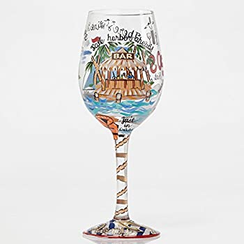 Hand-painted Artisan Wine Glass, 15 oz