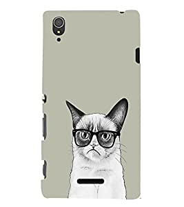 EPICCASE Nerdy Cat Mobile Back Case Cover For Sony Xperia T3 (Designer Case)