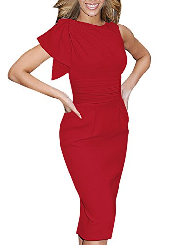 VfEmage Women's Celebrity Elegant Ruched Wear to Work Party Prom Bodycon Dress 1157 RED 12