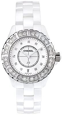 Chanel J12 Diamond Bezel White Ceramic Ladies Watch H2429