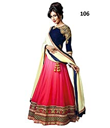 Fabfiza Pink Georgette Embroidered Semi-stitched Lehenga Choli