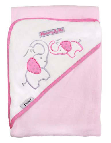 "Mommy & Me, 36""x30"" Velour Hooded Towel, Elephant (pink), Frenchie Mini Couture - 1"