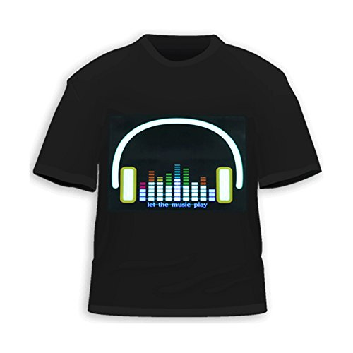 Hde Men'S Sound-Activated Led T-Shirt (Headphones, Medium)