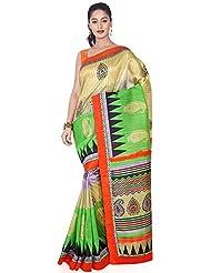 Aadarshini Women's Raw Silk Saree (110000000451, Beige & Green)