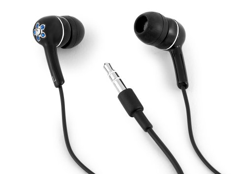 Altec Lansing MHP126 Muzx Series In Ear Headphone with Black and Blue Crystal Flower