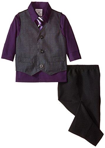 Perry Ellis Baby Boys' Glen Plaid Vest Set, Black Currant, 12 Months