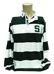 NCAA Michigan State Spartans Mens Striped Rugby Shirt, Green White Gray by Donegal Bay