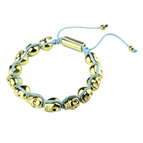 Zodaca Fashion Women Bone Skull Metal Beaded Bracelet / Bangle Charm Jewelry Birthday Gift (Ajustable: 8.66