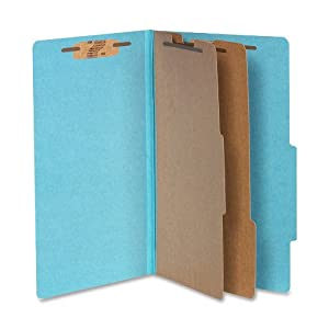 ACCO 16026 ACCO Pressboard 25-Point Classification Folders, Lgl, 6-Section, Sky Blue, 10/Bx