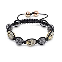 Bling Jewelry Shamballa Inspired Bracelet Gold Plated Crystal Skull