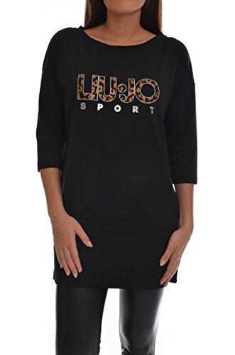 <p>LIU JO SPORT T-shirt maxi logo frontale manica 3/4 donna, T66090 nero, over</p>