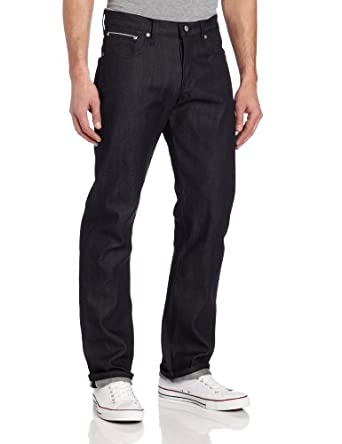 Naked & Famous Denim Men's SlimGuy Mid Rise Slim Fit Jean In Broken Twill Selvedge, Broken Twill Selvedge, 28x35