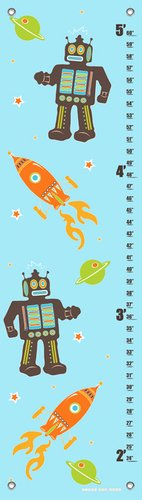 Oopsy Daisy Growth Charts Robots and Rockets Aqua by Finny and Zook, 12 by 42-Inch