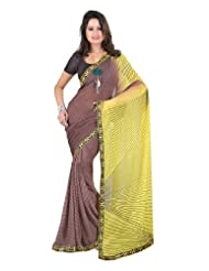 Fabdeal Georgette Multicoloured Printed With Lace Border Saree
