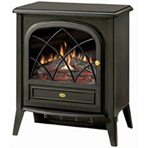 black compact stove style electric fireplace space heater with 3d flame home kitchen. Black Bedroom Furniture Sets. Home Design Ideas