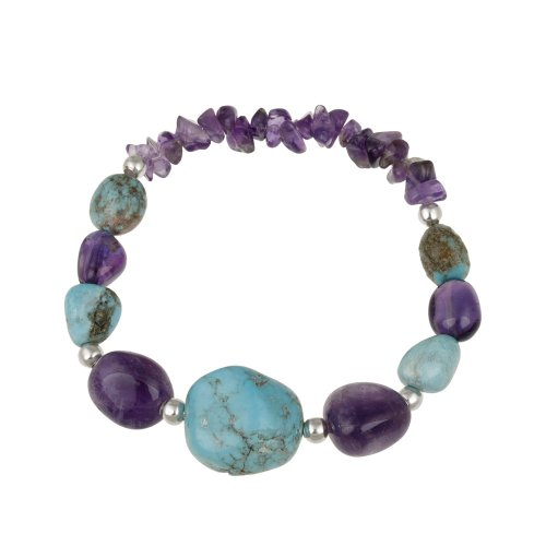 Sterling Silver Bead, Turquoise Nugget and Amethyst Chip and Nugget Graduated Stretch Bracelet, 7.5