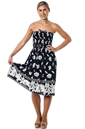One-size-fits-most Tube Dress/Coverup - Monochrome Print - Fall Leaves