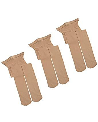 Capezio Children's Hold & Stretch Footed Tight Caramel S 3 pack