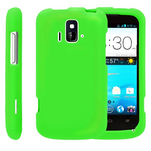 Miniturtle, 3 In 1 Slim Fit Rubber Feel 2 Piece Snap On Hard Phone Case Cover, Capacitive Stylus Pen, And Clear Screen Protector Film For Prepaid Android Smartphone Zte Sonata Z740G And Zte Radiant Z740 /Aio Wireless, /At&T Gophone (Neon Green)