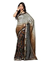 AG Lifestyle Grey & Black Faux Georgette & Jacquard Pallu Saree With Unstitched Blouse ELG8010