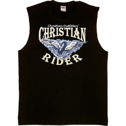 MENS SHOOTER (SLEEVELESS) T-SHIRT : WHITE - LARGE - Christian Outfitters - Christian Rider - Biker Inspirational