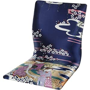 Oriental Furniture Japanese Style Game Chair, Tatami Meditation Backrest Chair, Indigo Geisha