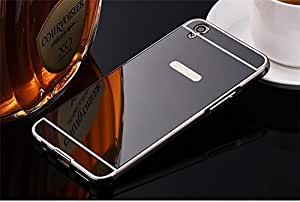 Rockxy™ Luxury Metal Bumper Acrylic Mirror Back Cover Case For OPPO F1 PLUS - BLACK