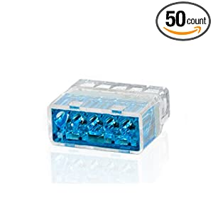 Push-In Wire Connectors - Blue - 5 Wire - 50 Count