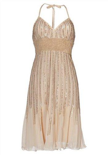 Unbekannt APART Damen-Kleid Abendkleid mit Perlen Gold Größe 38