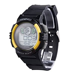 TIME100 Multifunction PU Strap Yellow Bezel Sport Electronic Watch #W40024M.04A