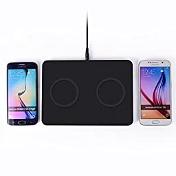 VIMVIP® 1 To 2 On Corresponding Area Qi Wireless Charger Stand Pad for Samsung Galaxy S6 /S6 Edge/ Note5,Support 2 Phones Wireless Charging Transmitter