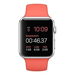Apple Watches with Aluminum Case and Sport Band, Silver Aluminum Case/Pink Band, 38mm
