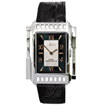 Xezo Unisex Architect Swiss Watch. Natural Black Mother-of-Pearl. 5ATM WR. Classic Vintage Style
