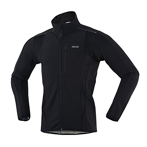ARSUXEO Winter Warm UP Thermal Softshell Cycling Jacket Windproof Waterproof Bicycle MTB Mountain Bike Clothes 15-K Black Size Small (Man Cycling Clothes compare prices)