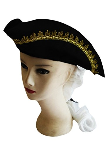 Forum Novelties Child Size American Colonial Black Costume Hat with White Wig and Feather - 1