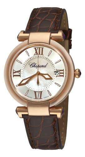 Chopard Women's Imperiale 36mm Brown Leather Band Steel Case Quartz Silver-Tone Dial Watch 384221-5001