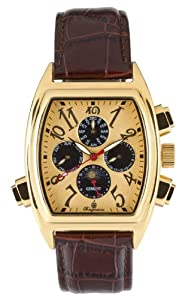 Burgmeister Sao Paulo, BM131-275, Gents Automatic Analogue Wristwatch, gold plated, brown leather strap, gold dial, Date, Day, Month, Day, Night,