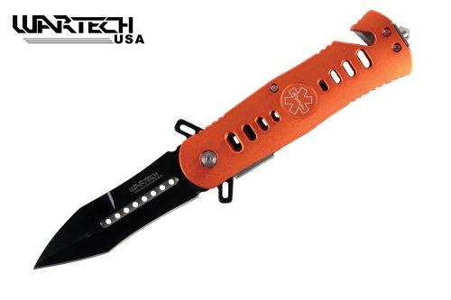 """8"""" Assisted Open Tactical Pocket Knife Orange Handle -Ems"""