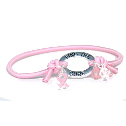 Pink Ribbon Elastic Band Bracelet Party Accessory - 1