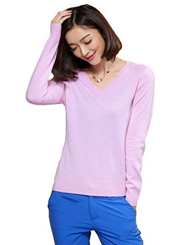 Xiouli Women's 100% Cashmere Slim-Fit V-Neck Sweater 7201(L,Pink)
