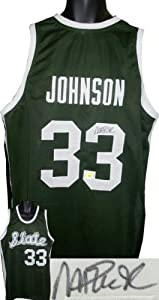 Magic Johnson signed Michigan State Spartans Green Custom Jersey by Athlon+Sports+Collectibles