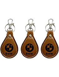 PARRK BMW Full Leather Locking KeyChain Pack Of 3