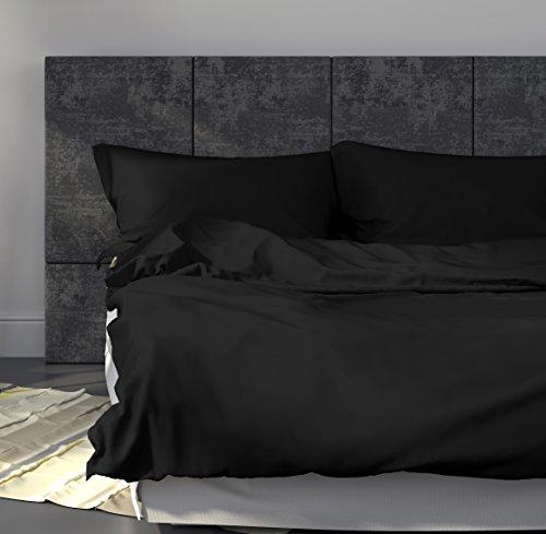 Mako-Satin-Bettwsche-Set-Uni-135x200-cm-Schwarz-Bettdecke-und-Kopfkissen-Bezug-aus-Satin-Baumwolle-mit-Reiverschluss-Der-schne-elegante-Bett-Bezug-mit-leichtem-Glanz-fr-das-ganze-Jahr