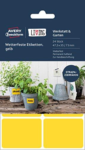 Avery Zweckform 62026 Living Wetterfeste Etiketten, 16 Stück a 47.5 x 35 mm / 8 Stück a 47.5 x 73 mm, gelb