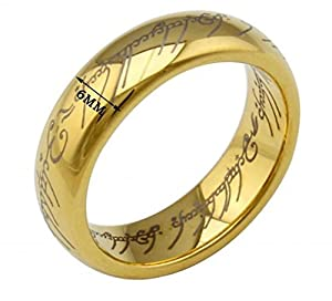 MoAndy Jewelry Mordor Lord Class-Rings Men Fashion Finger Rings Smooth Tungsten Steel Golden US Size 12 by MoAndy